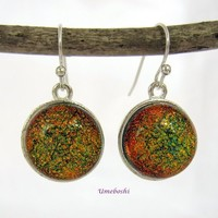 Color Shifting Gold-Green Dichroic Handcrafted Glass Dangle Earrings