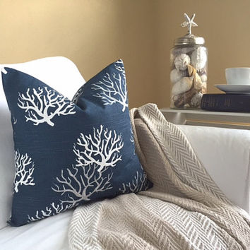 Navy Coral Pillow Cover - Navy Sea Coral Pillow, Ocean Decor, Nautical Pillow, Beach Pillow