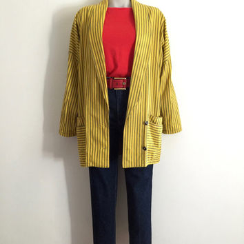 Vintage 1980s 'Gravity Sports' yellow longline oversized striped cotton jacket with patch pockets and asymmetric button front