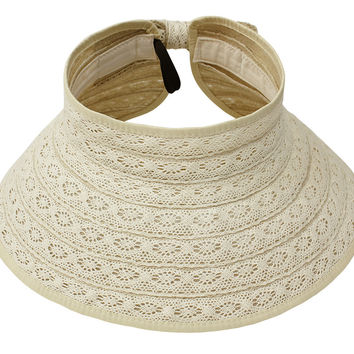 Womens Beige Lace and Straw Packable Roll-up Wrap Brim Visor Sun Hat