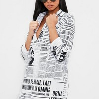 Missguided - White Newspaper Print Long Sleeve Shirt Dress