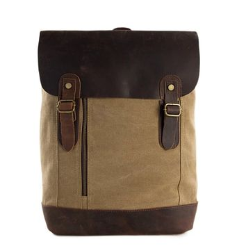 Waxed Canvas and Leather Casual Backpack - Khaki