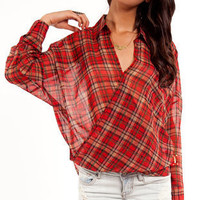 Cross Plaid Blouse ~ TOBI