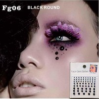 FG06 Black Cyber Face Gems Jewels Bindi Dots Bindis Beauty Body Art Accessories Festival