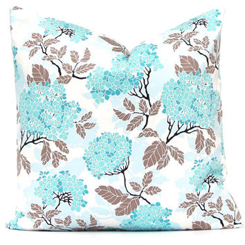 Aqua Pillows,  Floral Sofa Pillows, Throw Pillow Covers, Floral Pillows, Hydrangea Turquoise Pillow Throw Pillow Cushion Cover One floral