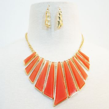Coral Pink & Gold Sun-Ray Earrings Set & Necklace