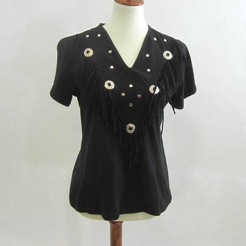 "Western Blouse Ladies Black with Conch Discs Fringed Top V-Neck Short Sleeve Soft Knit Tee ""Young Country Western Wear"" Sz S 