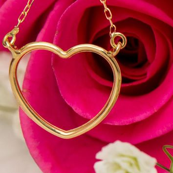 14k Yellow Gold Small Heart Pendant Necklace w/18-Inch Chain, 13mm