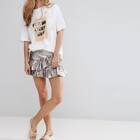 Pull&Bear Frill Detail Mini Skirt at asos.com