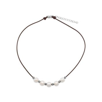"""16""""+2"""" Leather and Cultured Freshwater Pearl Necklace"""