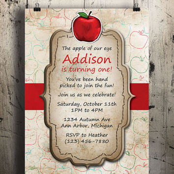 Instant Download-Apple Autumn Fall Seasonal DIY Printable BBQ Picnic Birthday Party Baby Girl or Boy Shower Wedding Invitation Template