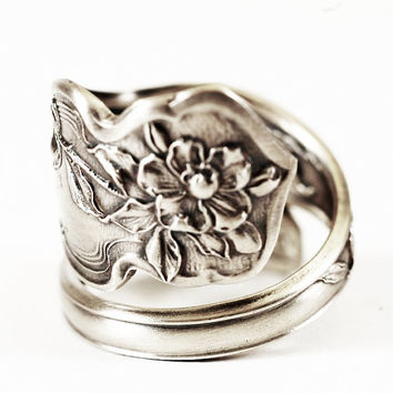 Art Nouveau Daffodil Narcissus Sterling Silver Spoon Ring, Handmade & Adjustable to Your Size (2124)