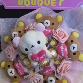 Japanese Cartoon Bears with Ferrero Rocher Chocolates in a Flower Bouquet. Perfect gift for spoiling her.
