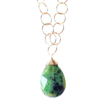 Zoe Green Jade Pendant on Circle Gold Chain