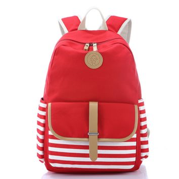 Red Striped Canvas Casual Backpack Travel Bag Daypack