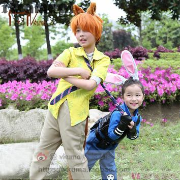 New Movie children Zootopia Cosplay Officer Judy  and nick Cosplay Costume Outfit Bunny Ears Police Unform For Kids