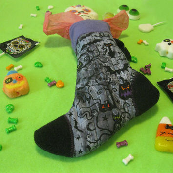 Witch's Sock - Halloween Candy and Treat Stocking - Spooky Night - Purple & Black Holiday Stocking