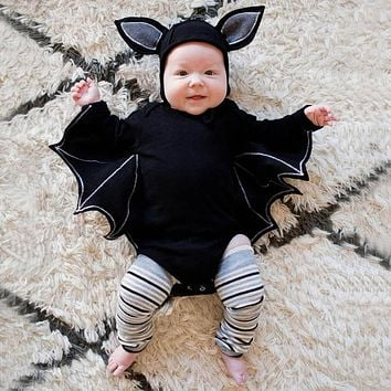 Novelty Baby's Romper Toddler Newborn Baby Boys Girls Halloween Cosplay Costume Romper Hat Outfits Batwing Sleeve Baby Clothing+