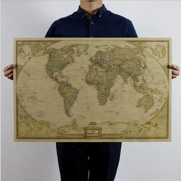 Vintage Retro Map Poster Matte Kraft Paper World Map Antique Poster Wall Sticker Home Decor Map Of World