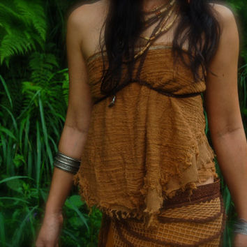 forest fairy Terracota  Brown Earthy Tribal Light cotton Top -Belt