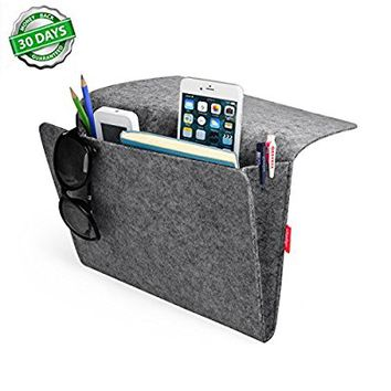 Bedside Caddy, Felt Bed Caddy Storage Organizer Pocket inside with 2 Small Pockets for organizing tablet Magazine Phone Small Things Home Sofa Desk Holder (Gray)