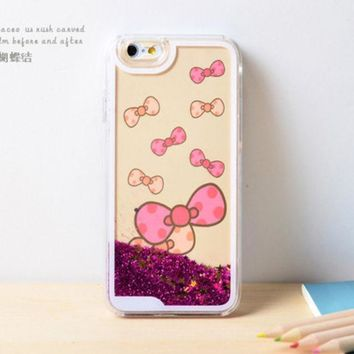 CREYEJ6 Bow Dynamic Liquid Pink Glitter Sand Quicksand Bling Clear iPhone 6 Plus case Retro flower Phone Case