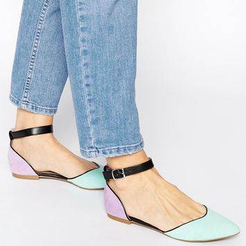 New Look Liquorice Two Part Colour Block Flat Shoes