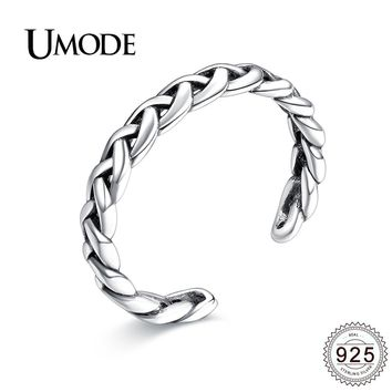 UMODE Vintage Open Braided Twist 925 Sterling Silver Rings for Women Wedding Enaggement Jewelry Silver Anel Bijoux Femme ULR0279