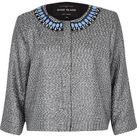 River Island Womens Black tweed embellished cropped jacket
