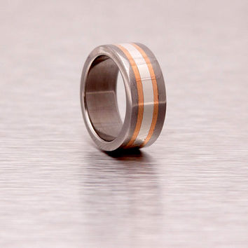 Mens Wedding Band titanium silver and copper stripes inlaid