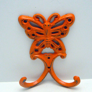 Butterfly Wall Hook Cast Iron Bright Cheery Retro Orange Distressed Double Splay Wall Hooks Shabby Chic Jewelry Hat Coat Keys Scarf Leash
