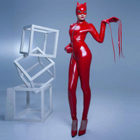 Size S-XXL High Quality Women Sexy PU Leather Catsuit Wetlook Paint Leather Bondage Jumpsuit Catwoman Costume Exotic Clubwear