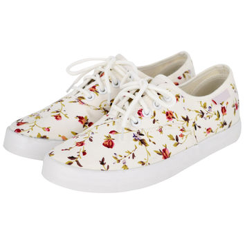 Canvas Lace Up Floral Print Flat Shoes