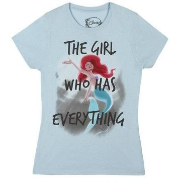 Little Mermaid Ariel Has Everything Disney Licensed Womens Junior T-Shirt - Blue