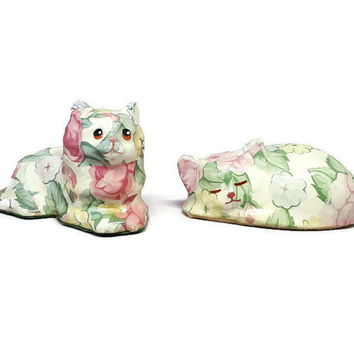 Paper Mache Decoupage Cat- Vintage Cat- Vintage Decoupage- Vintage Cat Decor- Vintage Folk Art- Decoupage Cat Sculpture- Paper Mache