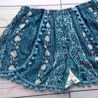 Pom pom Shorts Elephants Boho Print Summer Beach Chic Fashion Tribal Aztec Ethnic Clothing Bohemian Ikat Clothes Hobo Cute Women Green
