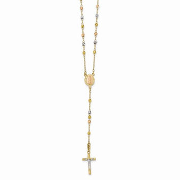 14K Tri-color gold 26 inch Beads Rosary Necklace
