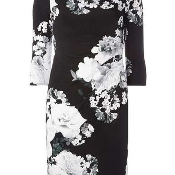 **Luxe Monochrome Floral Bodycon Dress - View All Dresses - Dresses