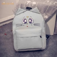 Women's Cute Canvas Cat Backpack