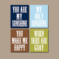 BOY You Are My Sunshine Wall Art CANVAS Blue Green Brown Nursery Rhyme Quote Song Print Set of 4 Prints Baby Crib Decor