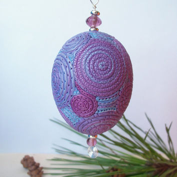 Egg Ornament, Christmas decoration, polymer clay purple and blue filigree