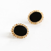 Vintage 10k Yellow Gold Black Onyx Earrings - Retro 1950s Mid Century Post Back Oval Studs Fine Jewelry Hallmarked BDA