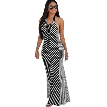 2016 Summer Dress for Women Sundresses Robe Longue Femme Nautical Stripes Beach Halter Maxi Dresses UK Vestidos De Playa A61157