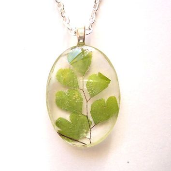 Real Pressed Maidenhair Fern Glass Pendant Necklace