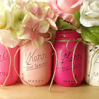 Four, Hand Painted, Rustic - Style Mason Jars, Pink and White Painted Mason Jars