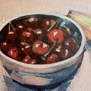 Original Acrylic Painting on paper Still life Wedding gift Custom Landscape / House Drawing Portrait from your photo Hand painted Cherries