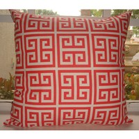 Coral Greek Key Dorm Decorative Throw Pillow *Avail. In All Sizes* | Teen Girl Dorm Room Bedding