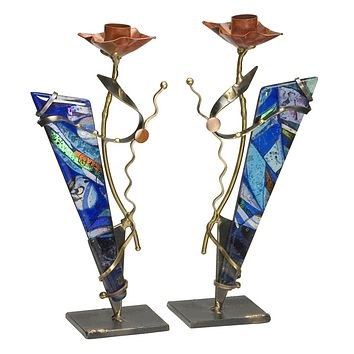 Metal And Fused Glass Shabbat Candlesticks By Gary Rosenthal In Purple Size: 11X2.5X5.25