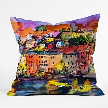 Ginette Fine Art Dolce Vita In Vernazza Throw Pillow