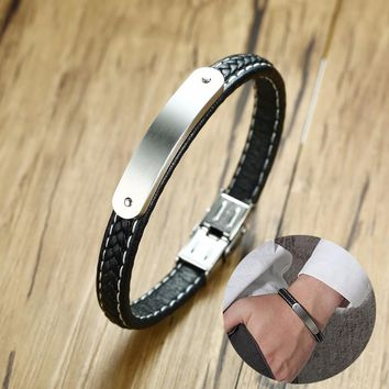 Personalised Men's Steel ID Bar Bracelet and Black Braided Leather Braslet for Men Engraved Message  Male Jewelry 8.26""
